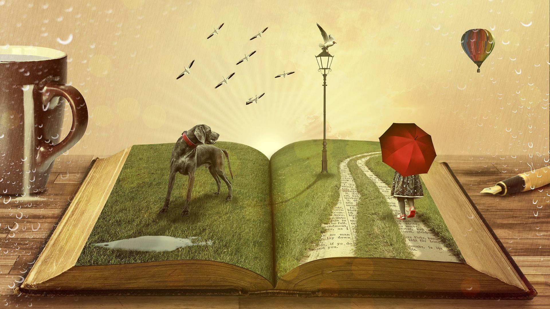 su narrativa determina su historia, ya que esta imagen ilustra un libro abierto con un camino establecido
